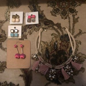 Bundle of earrings and necklace.